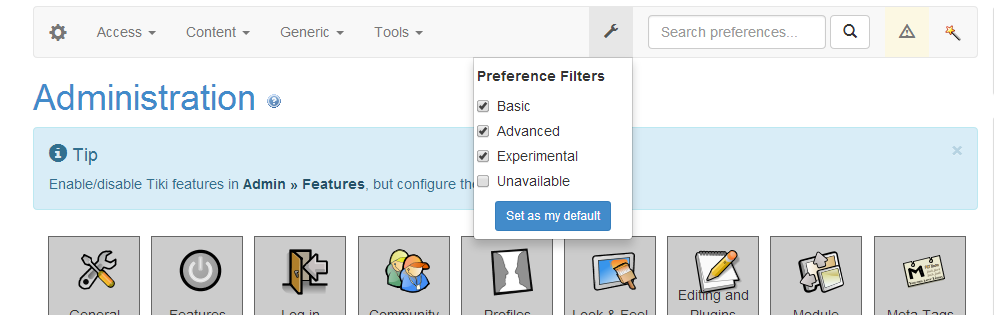Admin Preferencefilters